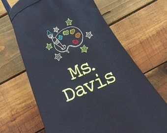 Artist Apron--Personalized Embroidered Apron for that special artist or teacher--2 sizes available