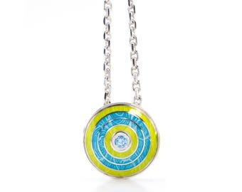 Bright jewelry topaz pendant vitreous enamel jewellery cloisonne silver enamel necklace topaz silver set enamel guilloche jewelry gem silver