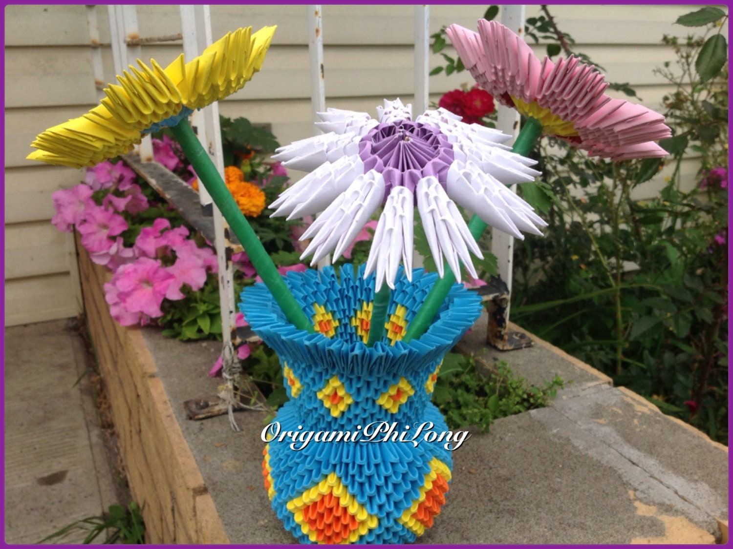 Vase And Flowers 3d Origami Home Decoration Handmade Gift