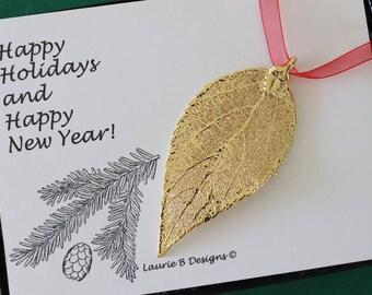 Evergreen Leaf Ornament Gold, Evergreen Leaf, Evergreen Leaf Extra Large, Ornament Gift, Christmas Card, ORNA90