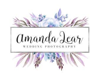 Premade Watercolor Logo - Predesigned Poenies Logo - Photography Floral Logo - Violet Flower Logo - Silver Logo - Feminine Logo - Photograph