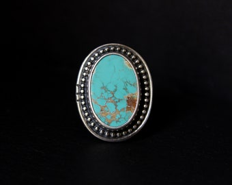 READY TO SHIP - Oval Royston Turquoise Sterling Silver Statement Ring | Size 7.75 - 8  | Nevada Mine | Boho Minimalist | Gugma Jewelry