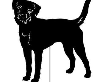 Border Terrier Garden Stake or Wall Hanging / Garden Art / Pet Memorial / Shadow / Cut Out / Metal / Silhouette / Dog / Rusty