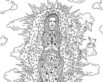 Our Lady of Guadalupe, Mary, Black & White Fine Art Print Illustration Coloring Page - Free Shipping