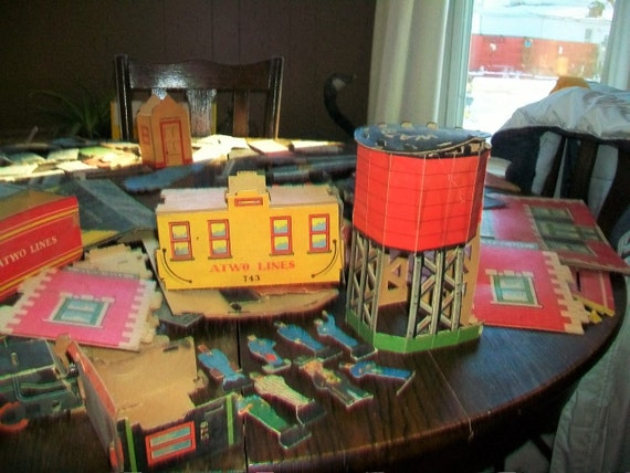 Vintage 1940s Cardboard Train Set Atwo City