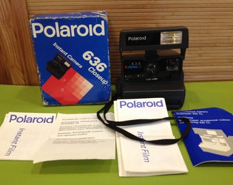 POLAROID 636 Closeup One Step Instant Flash Camera Vintage Tested Working+Box+Manual/Made in United Kingdom/Polaroid Great Condition/Gift