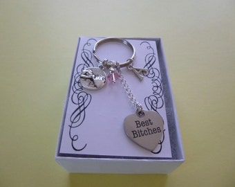 Pinky Finger Best Bitches w/Birthstone & Initial Key Chain, BFF Key Chain, Personalized with Initial Key Chain, Birthstone Key Chain