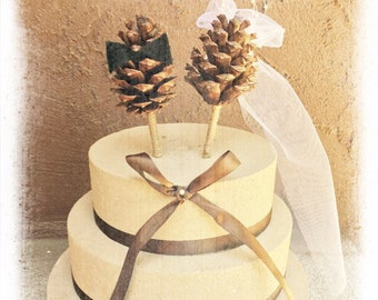 Pine Cone Wedding Cake Topper - Winter Wedding Cake Topper - Rustic Wedding Cake Topper - Bride Groom Cake Topper - Fall Cake Topper