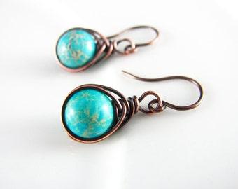 Wire Wrapped Earrings Copper Earrings Jasper Earrings Copper Jewelry Wire Wrapped Jewelry Turquoise Earrings