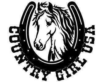 """CNC Plasma """"Country Girl USA"""" Horse Metal Sign Powder Coated or Raw Steel"""
