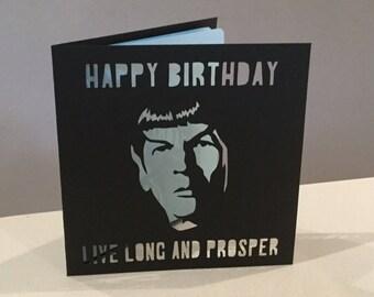Papercut Spock Live Long and Prosper Star Trek Birthday Card Art Gift Present