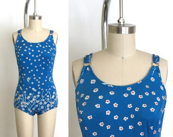 Vintage 1970s Swimsuit // 70s Blue Floral One Piece Bathingsuit // German Bombshell Maillot // Boy Short Bottoms Full Coverage Top