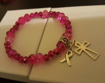 Cross w/cancer awareness ribbon bracelet