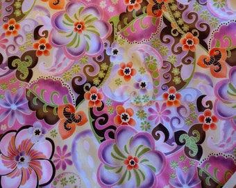 PUL fabric, diaper fabric, polyurethane laminate fabric,  PUL fabric pink carnival flowers print, 1 Yard.