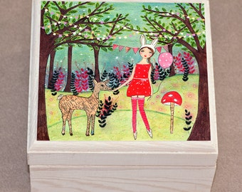 Woodland Girl Jewelry Box Trinket Box Fairy Tale Girl with Deer