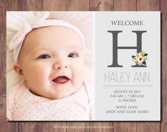Printable Birth Announcement Card, New Baby Announcement Card, Printable Newborn Announcement, Photo Birth Announcement, Photo Credit: AMP