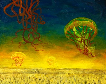 Original Oil Painting, Oil Painting Landscape, Surreal, Home Decor, Nature, Jellyfish