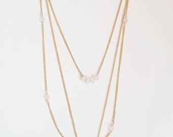 Layered Druzy Quartz & Rose Quartz Necklace