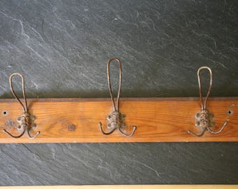 Antique Wood and Metal Coat Rack - Vintage Coat Rack With Faces