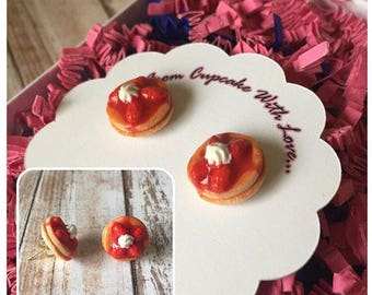 Strawberry Pancake Stud Earrings