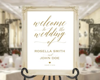 Gold Wedding Welcome Sign Template, Welcome to Our Wedding, DIY Welcome Sign, printable welcome sign, Wedding Welcome Poster, WPC_410SD1C