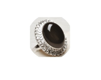 Black Onyx  Sterling Silver  Ring  ,  Size 8 1/2