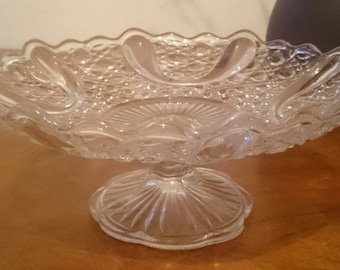 Pretty Vintage Pressed Glass Cake Stand for Afternoon Tea, Tea Parties