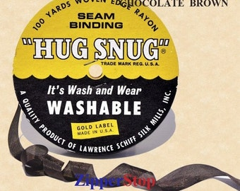 "CHOCOLATE BROWN - Hug Snug Seam Binding - 100 yard roll 1/2"" Wide - 100% Woven-Edge Rayon - Sewing Trim & Craft Supply - Wholesale Ribbon"