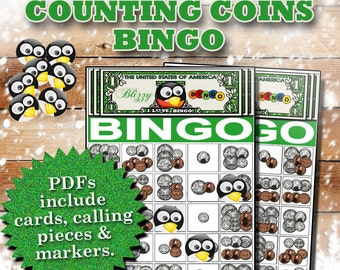 Blizzy Bingo COUNTING COINS printable PDFs contain everything you need to play Bingo (30 + 30 bingo cards, calling cards & markers).