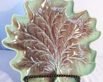 Royal Haeger Made in the USA R126A Moss Green and Brown Leaf Dish