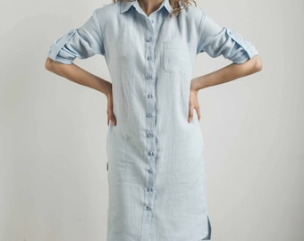 Linen shirt dress, sky blue dress, button down dress, straight cut dress, loose shirt dress, every day dress, linen button down, linen dress