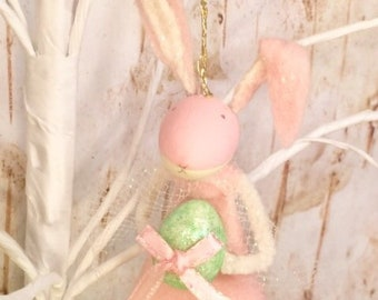 Easter ornament pink bunny rabbit doll ornament pastel pink and green spring decor easter decor oak art doll anthropomorphic