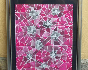 """Silkpainting """"Broken Glass"""", Silk, Painting, unique, one of a kind, art, framed"""