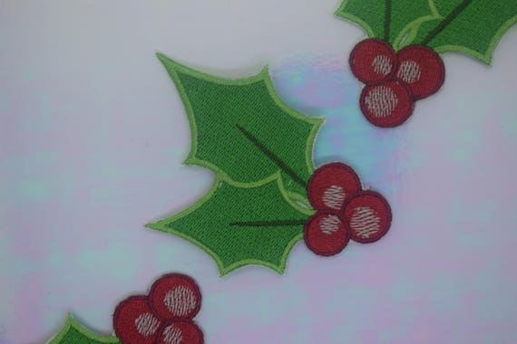 Christmas Holly Iron on Patch