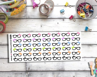 028 - (42- Glasses Stickers!) Glasses, Study, Planner Sticker, Kiss Cut Stickers