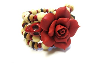 Day Of The Dead Bracelet Sugar Skull Jewelry Brown Black Cream Red Rose