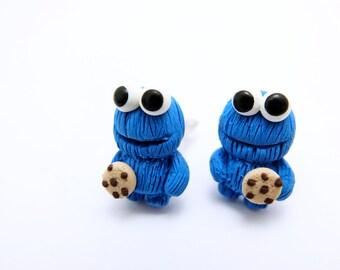cookie monster earring studs
