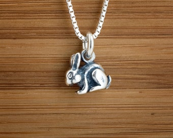 STERLING SILVER Tiny 3D Rabbit, Bunny Charm Necklace or Earrings - Chain Optional