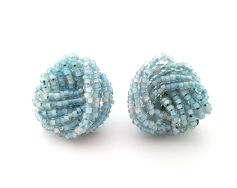 Vintage Sky Blue Seed Bead Cluster Button Style Clip On Earrings - Gift for Her / I250