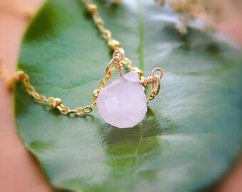 Rose Quartz Necklace, Gold Quartz Necklace, Pink Stone Necklace, Gemstone Necklace, Pink Quartz Necklace, Gold Fill Necklace, Gift for Mom