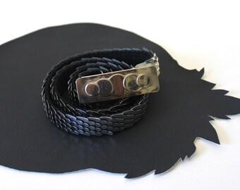 Silver Metal Scale Elastic Belt