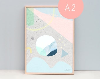 A2 Abstract Giclee Contemporary Art Print,  Fun, peach, pink, light blue, circles