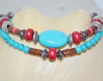 Ankle Bracelet Turquoise Magnesite & Wood Beads, Wood Bead Anklet, Turquoise Anklet, 2 Strand Turquoise Anklet, Southwestern Bead Anklet