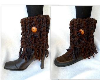 Fringed Boot Cuffs, CROCHET PATTERN, Legwarmers, Women's accessories, Make any size, #886