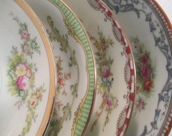 Vintage Mismatched China Bowls, Dessert Bowls, Fruit Bowls, Sauce Bowls, Berry Bowls, Farmhouse, Shabby, Rustic, Chic, Wedding - Set of 4