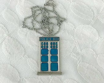 Tardis necklace, Dr. Who necklace, Dr. Who fan gift, Dr. Who charm necklace, Tardis charm necklace