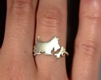 Sterling Silver 925 Scottish Terrier Dog Ring Animal Funny Rings Dog Silhouette Jewelry Dog Lover Gift Scottish Dog Ring