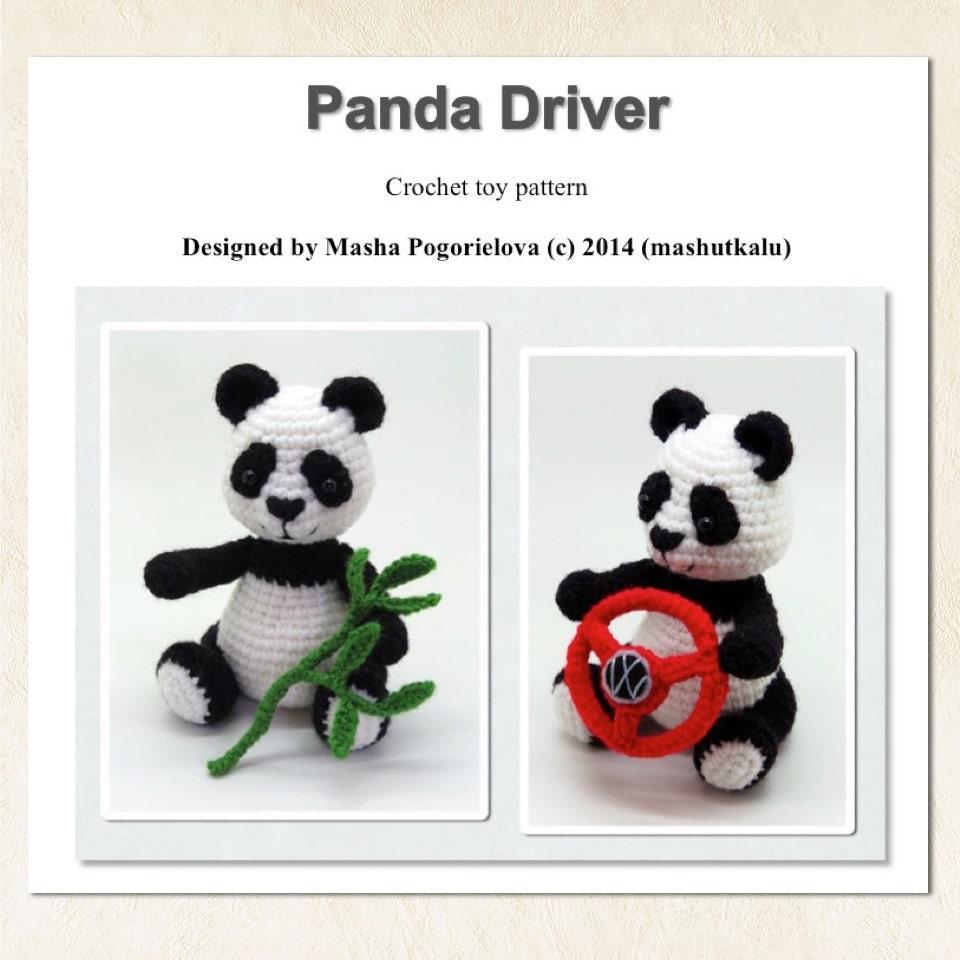 Panda Driver pdf crochet toy pattern amigurumi bear