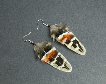 Cruelty free feathers earrings: Pheasant feathers organic earrings Boho Chic jewelry Tribal earrings Bohemian earrings Real feathers Hippie