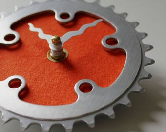 Bicycle Gear Clock - Little Orange | Bike Clock | Wall Clock | Recycled Bike Parts Clock